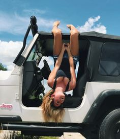 Sexy white jeep! Sexy jeep girl rockin a lacy black tank! Love it! #affiliate