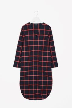 V-neck checked shirt dress