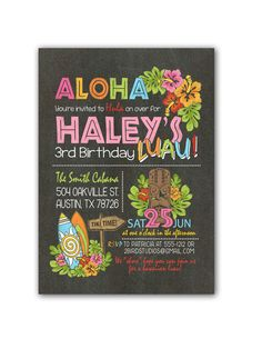 Chalkboard luau with surfboard birthday party invitation