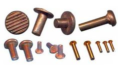 Copper Rivets - Copper Parts Components - Alloy Trade, Manufacturers and Exporters of Copper Rivets, Suppliers of Copper Rivets, solid copper rivets, copper blind rivets, Copper Rivets and Copper Washers, Copper Sheet Metal Pressed Parts, Round Head Rivets, Snap Head Rivets,     Flat Head Rivets,     Countersunk Head Rivets,     Step Rivets,     Semi tubular (Semi hollow) Rivets