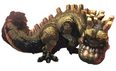 this monster is called an Uragaan, it has lots of rare minerals on its back that can be mined by people if they manage to knock it over or kill it. When it attacks it uses its club like tail or its sheer body weight.