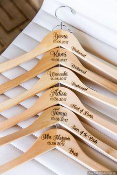 Farzan and Sugandha's Wedding in Irvine, California Adorable idea for bridesmaids - personalized calligraphy on hangers {Aevitas Weddings}<br> Cute Wedding Ideas, Perfect Wedding, Dream Wedding, Wedding Day, Wedding Beauty, Wedding Things, Wedding Events, Wedding Reception, Wedding Ceremony