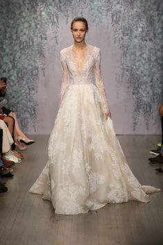 Our Favorite Fall 2016 Wedding Dresses from Bridal Fashion Week - Monique… Unusual Wedding Dresses, 2016 Wedding Dresses, Wedding Dress Trends, Bridal Dresses, Wedding Gowns, Wedding Blog, Bridal Collection, Dress Collection, Wedding Dress With Feathers