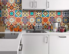 Talavera Traditional Tiles Decals - Tiles Stickers - Tiles for Kitchen Backsplash or Bathroom - PACK OF 12