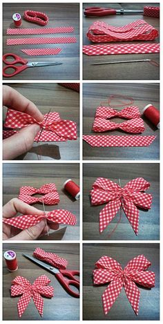 Doppelschleife aus Geschenkband nähen