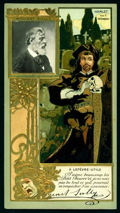 "Mounet Sully (1841-1916) ~ French actor as ""Hamlet"" ~ Lefevre-Utile Biscuits from their ""Celebrities"" series, c1905 