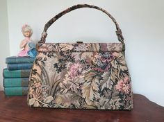 Vintage 1960s Fall Colors Tapestry Purse by Verdi - Leaves and Flowers by dandelionvintage