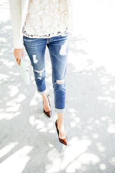 Lace top and boyfriends <3  10 Looks For Fall Wearing Jeans, Blazers and Heels - Fab You Bliss