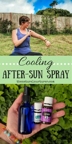 Cooling After-Sun Spray! A total summer must-make! This easy and natural DIY spray cools and soothes skin that has seen a bit too much of the sun using the plant power of essential oils, aloe and witch hazel!