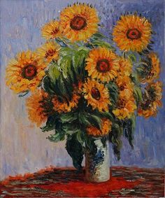 """Sunflowers by Monet Framed Canvas Reproduction/ This painting by Van Gogh has """"grown"""" on me over the years. Monet Paintings, Impressionist Paintings, Original Paintings, Vintage Paintings, Original Artwork, Claude Monet, Vincent Van Gogh, Canvas Frame, Oil On Canvas"""