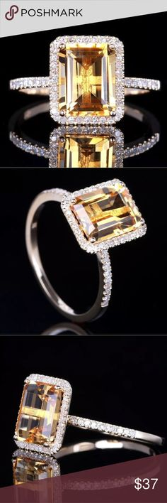 925 Sterling Silver Ring Elegant 925 Sterling Silver Citrine Ring Jewelry Rings
