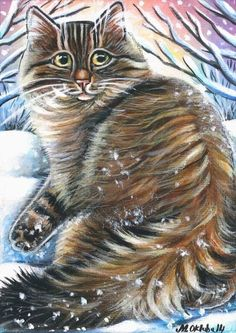 Maine Coon Cat Winter Xmas Painting