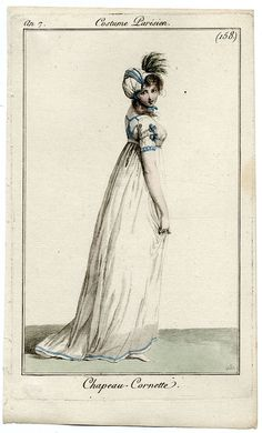 Very pretty white gown with blue trimmings. Costume parisien.1800