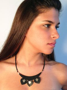 Statement black and gold necklace heart shape by KerenMekler, $64.90