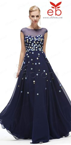 Modest Navy Blue Long Prom Dresses Cap Sleeves with Lavender white and Yellow Flowers