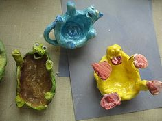 Color, collage, and much more art blog: pinch pot creatures