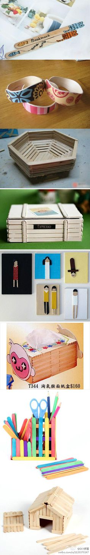 DIY crafty ideas using popsicle sticks Ice Cream Stick Craft, Popsicle Stick Art, Popsicle Stick Crafts, Craft Stick Crafts, Wood Crafts, Fun Crafts, Craft Sticks, Diy For Kids, Crafts For Kids