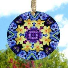 "Daffodil Hyacinth Glass Suncatcher Sacred Geometry Mandala Kaleidoscope Sentimental Spring $28  3 1/2"""