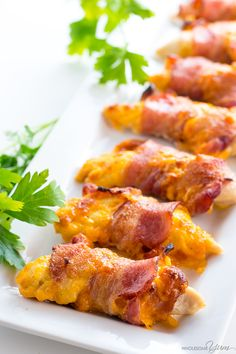 Low-Carb Comfort Food Recipes for Relaxing Baked Bacon Wrapped Chicken Tenders Recipe - 3 Ingredients - This easy baked bacon wrapped chicken tenders recipe needs just 3 common ingredients - chicken, bacon, and cheese! Ready in under 30 minutes. Chicken Tenderloin Recipes, Chicken Tender Recipes, Low Carb Chicken Recipes, Low Carb Recipes, Healthy Recipes, Cooking Recipes, Bacon Recipes, Fast Recipes, Easy Cooking