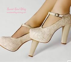 Lace platform t-bar pumps!