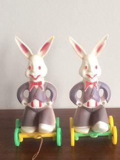 Vintage Hard Plastic Bunny On Wheels Rabbit by StoreFourandMore