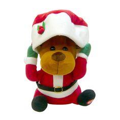 クリスマス サンタハット トナカイ 左足のボタンを押すと音楽が流れ動き出します。 帽子を持ち上げながら動きまわります。
