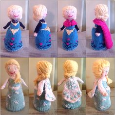 Knitted this for my niece. Check out ravelry.com and look for the pattern for frozen flip dolls. Patterns for Elsa and Anna. I added different embroidery and hair as well as added the cape on her ice dress.