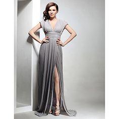 Vestido de Noite em Chifon com Cauda Sweep e Decote em V (Inspirado em Mila Kunis) – BRL R$ 213,05
