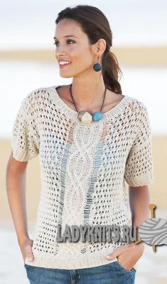 Free knitting pattern leaflet from Katia for a beautiful summer top using their Bamboo yarn. Free Pattern: free knitting pattern summer top (instructions in English and French) Free Knitting Patterns For Women, Cable Knitting Patterns, Knit Patterns, Summer Knitting, Easy Knitting, Pulls, Sweaters For Women, Tops, Top Free