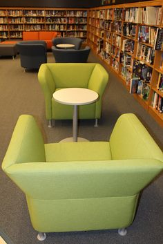 Burrell High School Library's new furniture: Square backed green chairs from the HON Company (Flock series). I love that the new chairs sit so close to the bookshelves now. Maybe my HS kids will read more!