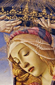 Botticelli, Madonna of the Magnificat, detail, 1481. Detail taken from the Google Art Project.