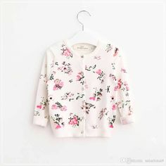 New Kids Girls Knitted Cardigan Sweaters Floral Print Beige Jackets Western Fashion Princess Fall Winter Outwears