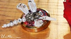 OOAK white dragonfly steampunk brooch by ILiNidesigns on Etsy