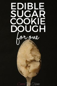Edible Sugar Cookie Dough for One: You can safely enjoy some sugar cookie dough without worries of eating raw eggs or feeling too guilty! Edible Sugar Cookie Dough will safely satisfy your sweet tooth! Cookie Dough Vegan, Edible Sugar Cookie Dough, Cookie Dough For One, Edible Cookies, Cookie Dough Recipes, Baking Recipes, Edible Cookie Dough Recipe For One, Single Serving Cookie Dough, Mug Sugar Cookie