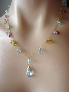 RESERVED FOR ANNA Multicolori Necklace sky blue topaz as by Amaia