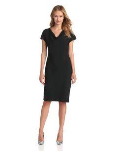 Jones New York Women's Cowl Neck Sheath Dress, Black, 4