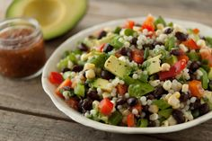 Israeli Couscous Taco Salad with Avocados, Black Beans, Red Bell Peppers and salsa!