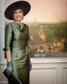 Queen Maxima of The Netherlands who opens the exhibition Royal Paradise - Aert Schulman and the imagination of nature looks at wallpaper from her future home Palace Huis ten Bosch that is in. Get premium, high resolution news photos at Getty Images Dutch Queen, Estilo Real, Olive Green Dresses, Fancy Hats, Queen Maxima, Royal Fashion, Her Style, Mother Of The Bride, Netherlands