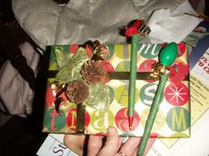 gift wrapping and christmas pen (using floral tape)