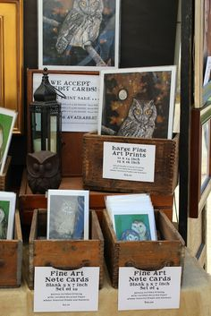 Vintage Art Booth Display with vintage wooden drawers and lanterns ... Carrie Martinez
