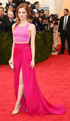 Emma Stone wearing a Thakoon two-piece pink and magenta color block gown