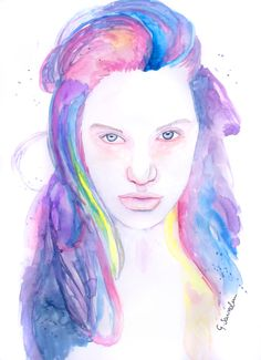 'Le Fay' Portrait Painting by Guinevere Saunders Artist  Watercolor on 140lb Watercolor Paper 2014