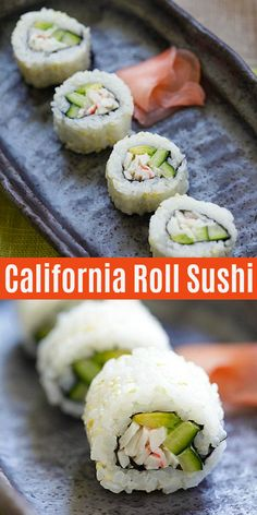 Homemade California roll with sushi rice, crab meat, avocado and cucumber. These California roll sus California Rolls, California Roll Recipes, California Roll Sushi, Homemade Sushi Rolls, Cooked Sushi Rolls, Sushi Roll Recipes, Asian Recipes, Healthy Recipes, Avocado