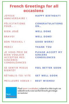 Discover the most common #Frenchgreetings and learn how to use them! + download the list in PDF format for free! Get it here:  https://www.talkinfrench.com/useful-french-greetings-occasions/