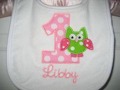 First Birthday Owl monogrammed bib by PolkaDotCloset on Etsy. $7.00 USD, via Etsy.