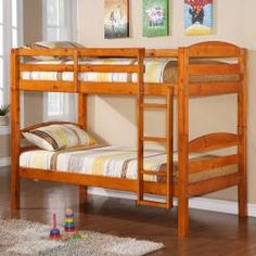 @Overstock - This solid wood twin over twin bunk bed features a bright honey finish. The bunk bed set also conforms to the latest consumer product safety standards.  http://www.overstock.com/Home-Garden/Twin-Over-Twin-Solid-Wood-Honey-Bunk-Bed/6372462/product.html?CID=214117 $358.19