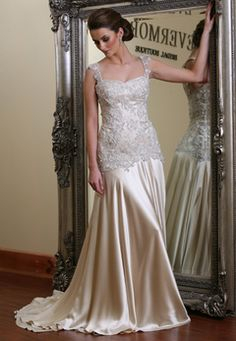 champagne wedding dress. 2 kids later & i swore id still wear white but I actually love this.