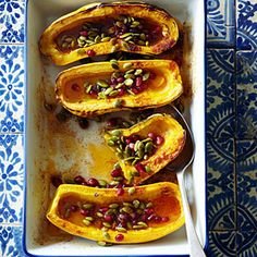 Roasted Delicata Squash with Honey, Pomegranate Seeds, and Pepitas Recipe