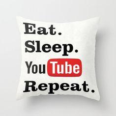 Eat Sleep Youtube Repeat pillow, Youtube cushion, Youtube pillow, home decor, throw pillow, gift for teenager, social media, geek pillow