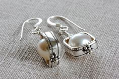 Framed Freshwater Ivory Pearl Earrings by ThePassionatePearl, $42.00